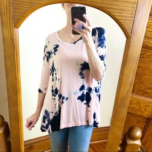Freeloader Pink and Blue Tie Dye Oversize Top